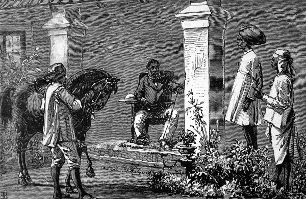 Engraving of verandah on grand Indian estate where gold has been found. Three servants in turbans are waiting on their master, one servant is leading a horse to the master. Wynaad in the Malabar district of Madras was subject to many gold finds between 1876