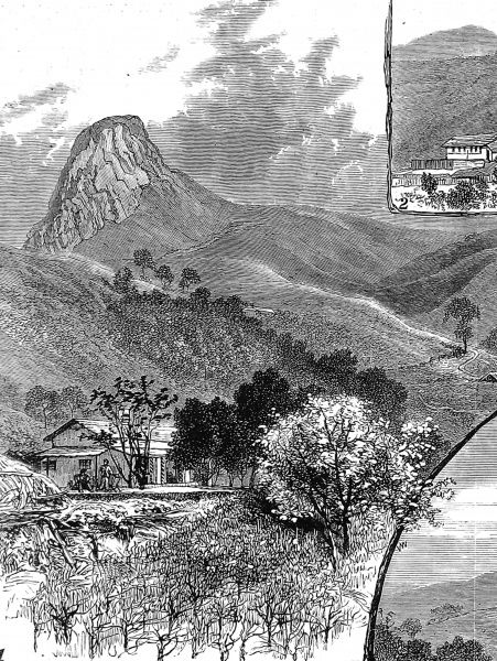 Engraving of the Needle Arch mountain and the coffee estate in Madras, Southern India where gold was found between 1876 and 1886