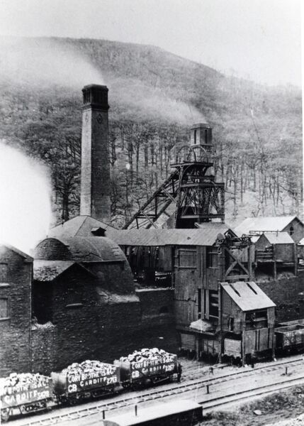 View of Aberdare Colliery, Glamorgan, South Wales, showing a giant centrifugal ventilation fan and the pithead
