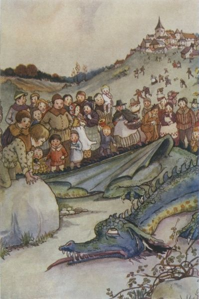 The countryfolk of Coed-y-Moch marvel at the body of the Wyvern, the fearful monster slain by the shepherd Meredydd