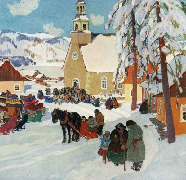 Winter in a French Canadian town (Pevibonka) - parishioners come by sledge to church. Date: 1931