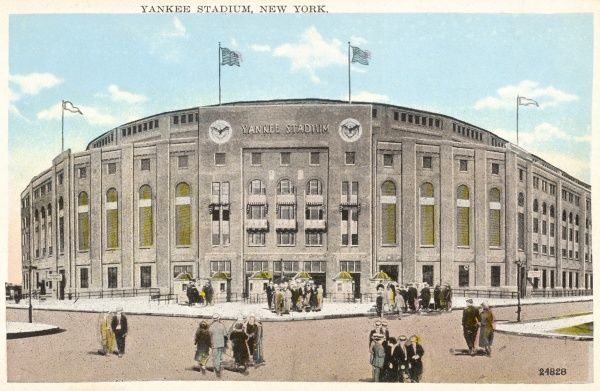 A view of the extreior Indiana limestone facade and main entrance of the original Yankee Stadium in The Bronx in New York City