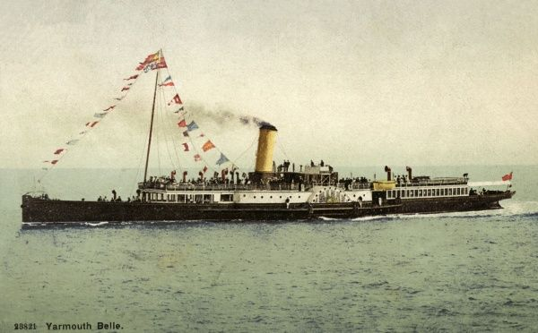 A paddle-driven pleasure steamer carrying holidaymakers from Great Yarmouth, Norfolk. Date: 1910