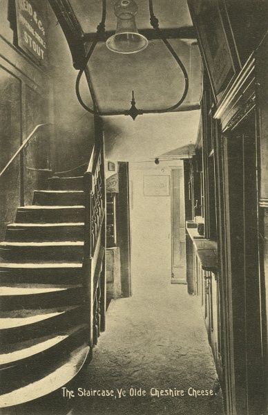 Staircase in Ye Olde Cheshire Cheese Pub, in Fleet Street, London c. 1920