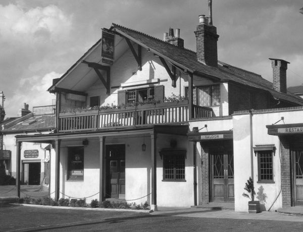'Ye Old Swiss Cottage', an old inn in north west London, reputed to have been named after Rossini's opera 'Le Chalet'. It was frequented by Charles Dickens. Date: 19th century