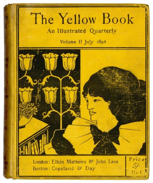 Cover of The Yellow Book, volume II, July 1894, designed by Aubrey Beardsley and featuring a woman, a bookcase and bold patterned wallpaper with flowers