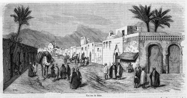 (Al Mukha, Mocka etc) Street scene in the town, formerly famous for its coffee trade