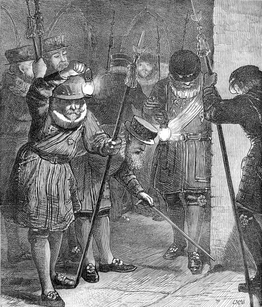Engraving showing Yeomen of the Guard, members of the Royal Bodyguard, searching the vaults of the Houses of Parliament prior to the opening of the Parliamentry session in January 1872