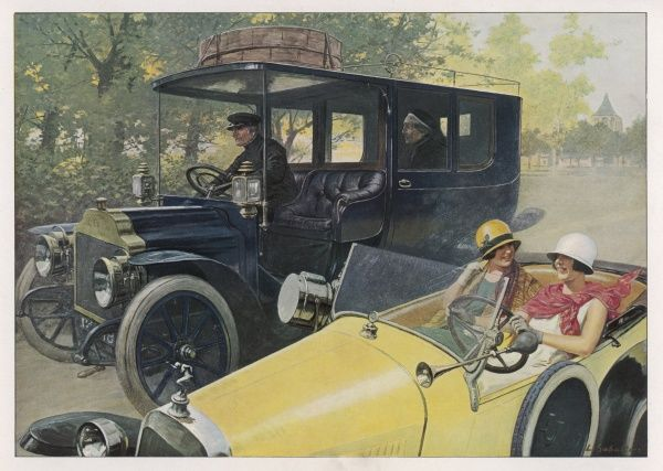 'Yesterday and today' Two modern women in the latest car pass a chauffeur driven woman in an older model