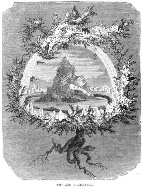 Yggdrasil (Yggdrasill), the sacred ash, the Tree of Life, the Mundane Tree of Norse mythology, whose branches overhang the Universe