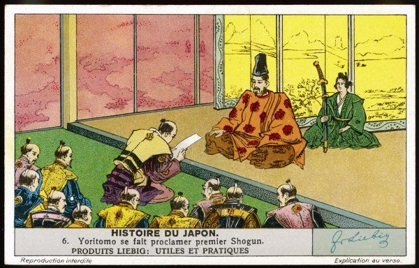 The decline of the Imperial court during the Fujiwara era leads to the rise of the Minamoto clan, Yoritomo establishing himself as the first Shogun (generalissimo)