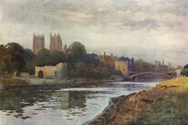 A distant viuew of York from the river Ouse. Date: circa 1909