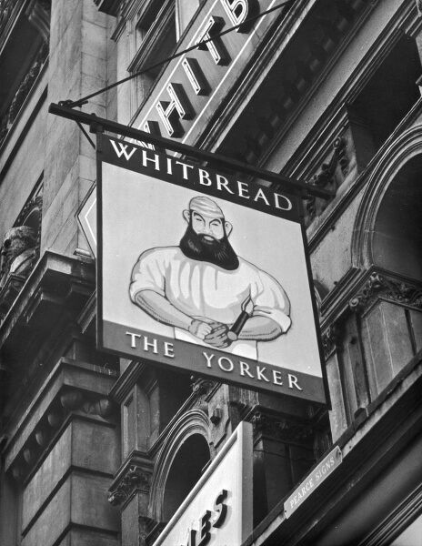 The inn sign for 'The Yorker'. depicting legendary English cricketer W.G. Grace (1848 - 1915) at Piccadilly, London, England