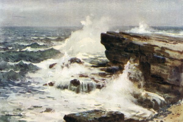 The Yorkshire coast at Filey Brigg - a rough sea breaking on the rocks. Date: circa 1909