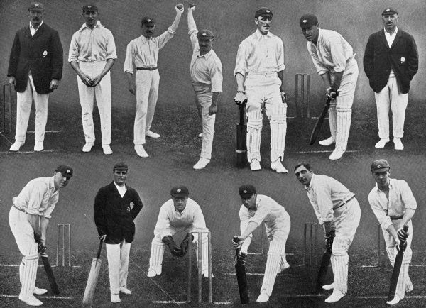 Photograph showing 13 members of the Yorkshire County Cricket team for the 1912 season. Yorkshire were winners of the County Championship that year. Top row, left to right: Sir A.W. White (captain), M.W. Booth, D. Denton, S. Haigh, W. Rhodes, W