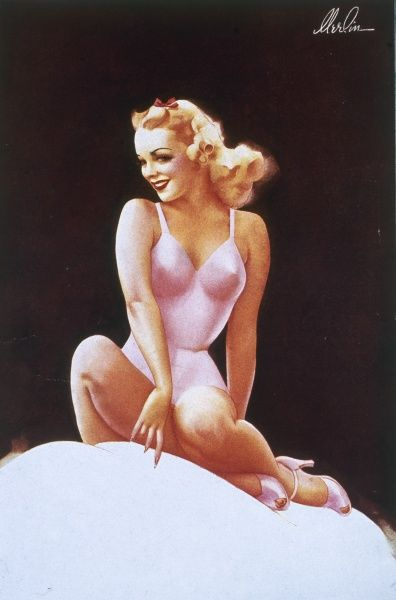 Blonde pin up girl by Merlin Enabnit (1903-1979). wearing a figure-hugging pink swimsuit Enabnit was born in Des Moines, Iowa and was a successful commercial artist. He produced 24 pin up illustrations for The Sketch during the 1940s