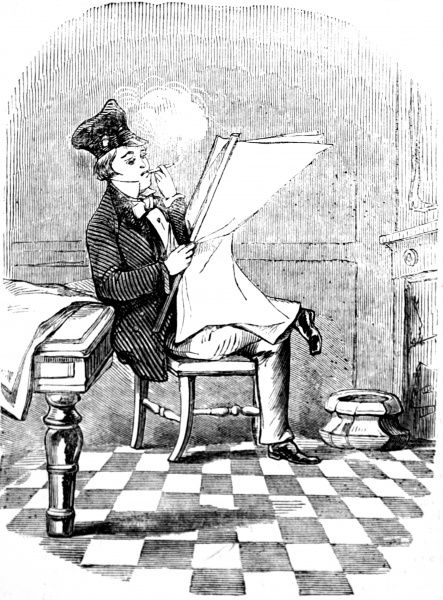 Engraving of a dapper young man, smoking a cheroot and reading the latest news, Boston, 1856. 'Young America' was the name of a democatic movement started in the USA in the 1830's