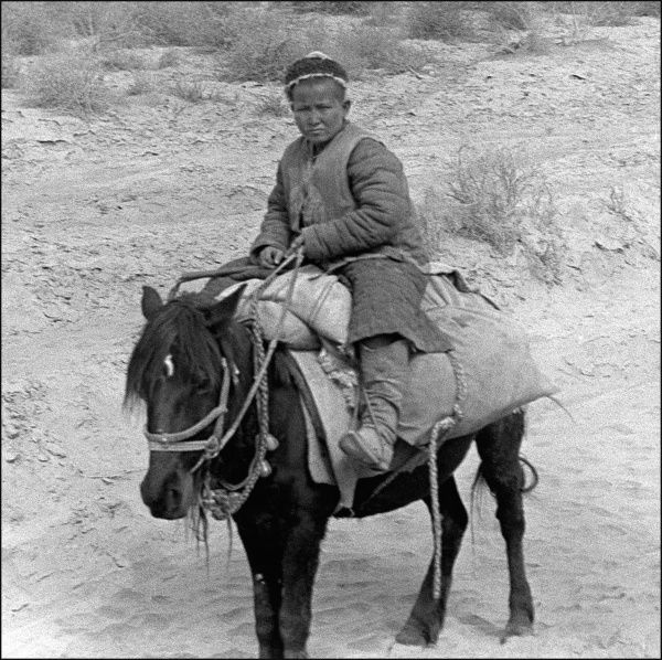 A young boy on a donkey in Kashgar, western China