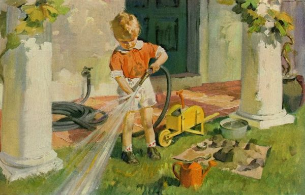 Young boy with garden hose Date: 1931