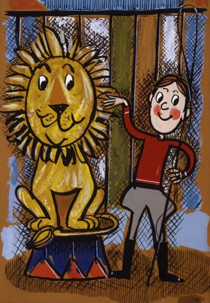 A young lion tamer in the circus with an obedient lion, sitting atop a decorated podium in the big top tent. Ink drawing with watercolour washes by Malcolm Greensmith