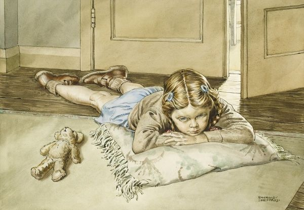 Young girl lying on a cushion alongside her teddy. Watercolour painting by Raymond Sheppard
