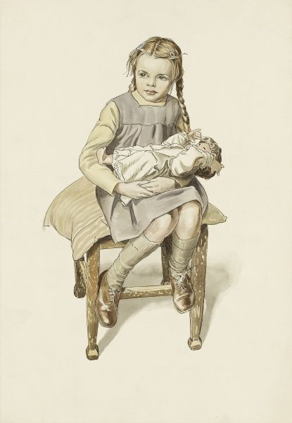 Young girl sits on a stool with a doll. Watercolour painting by Raymond Sheppard