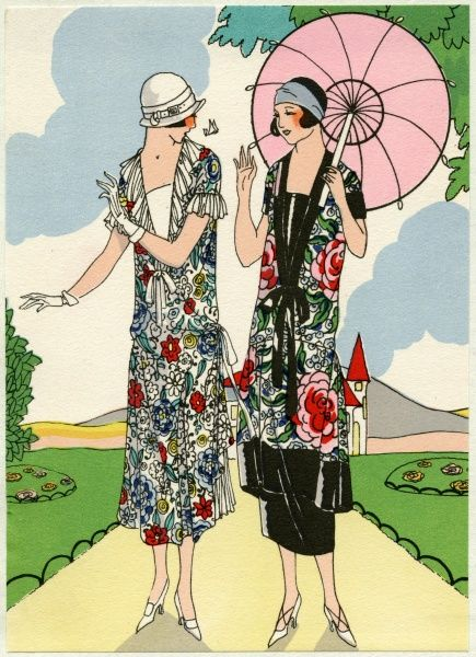Two fashionable young ladies out walking in outfits by Doeuillet. On the left, a muslin afternoon dress in a floral pattern. On the right, a three-piece outfit, including a floral pattern tunic edged with black satin.  1924