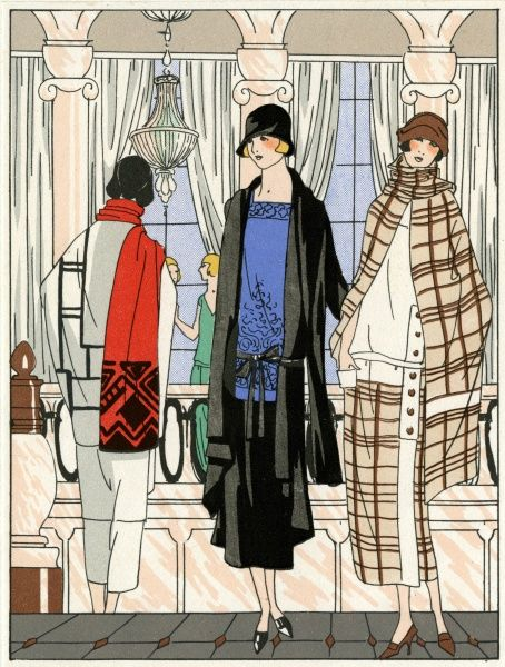 Three young ladies wearing outfits by Drecoll. On the left, a three-piece suit with geometrical patterns on the jacket and a red and black scarf. In the middle, a three-piece outfit in blue and black with a square neckline, and jacket with tie ribbon