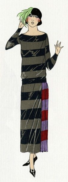 Young lady wearing a striped satin matt black and grey long sleeved, figureless dress, with red and purple side pleats, by Jenny. 1924
