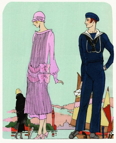 Fashionable young lady wearing a dress in mauve silk, with fine pleating, a velvet belt and two velvet bows at the hip, with matching cloche hat, by Anna.  1924