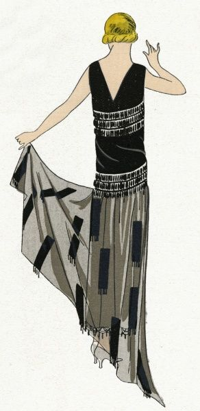 Young lady wearing a black sleeveless beaded evening dress with v-neckline and angular sheer hemline, by Jenny.  1924