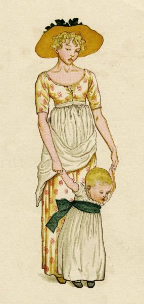 A young mother holds her energetic toddler by the hands to prevent her from falling.  first published 1881