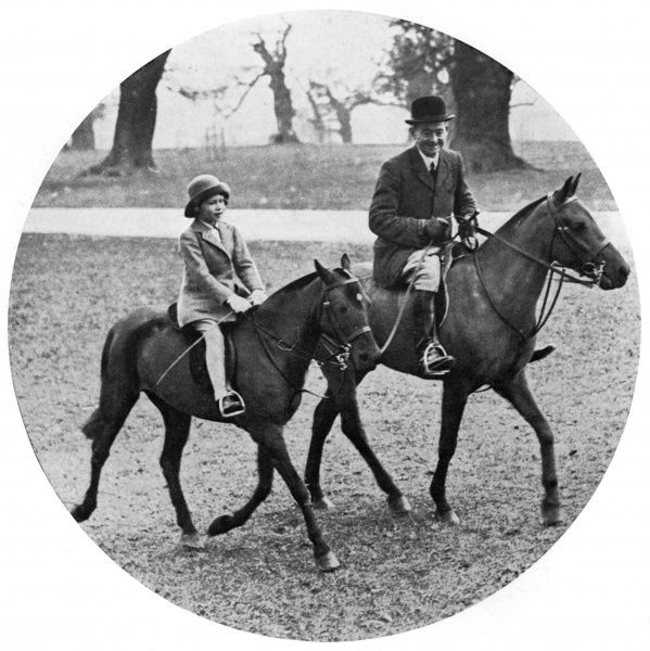 Princess Elizabeth rides in Windsor Great Park under the supervision of Mr Owne, the Duke of York's Royal Groom.  1934