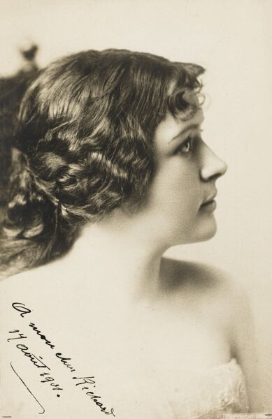 A superb photographic postcard of a young Turkish beauty, shot in profile