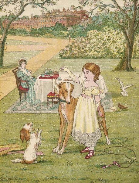 The young Princess Victoria, future queen of England, commands obedience from her childhood subject, a dog, in the gardens of Kensington Palace, London