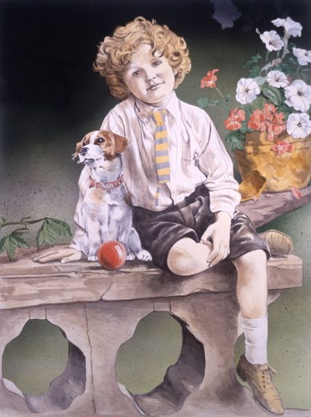 A golden-haired young lad with his pet dog sitting on a ornamental stone wall with one leg on his other knee. Painting by Malcolm Greensmith
