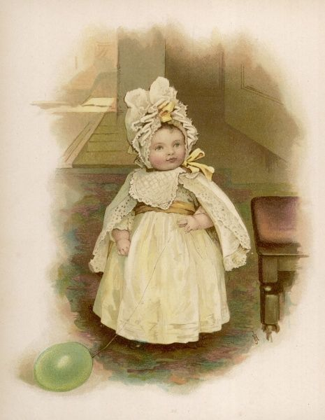 Young Victorian girl holding her green balloon