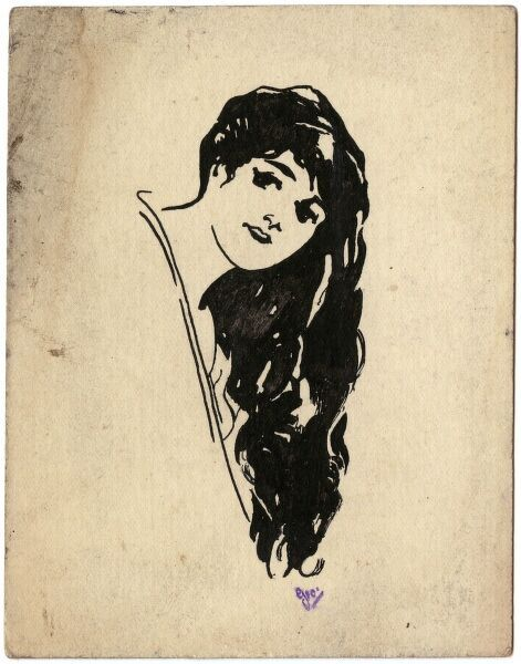 Simple drawing of a pretty young woman showing off her abundant long, dark hair by George Ranstead, an amateur artist of the Great War who served in the Army Pay Corps. Ranstead was one of many soldiers of WWI who took up drawing as a hobby