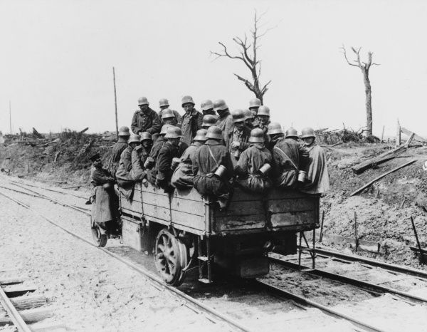 German field train goes to the front in the Ypres Salient during World War I