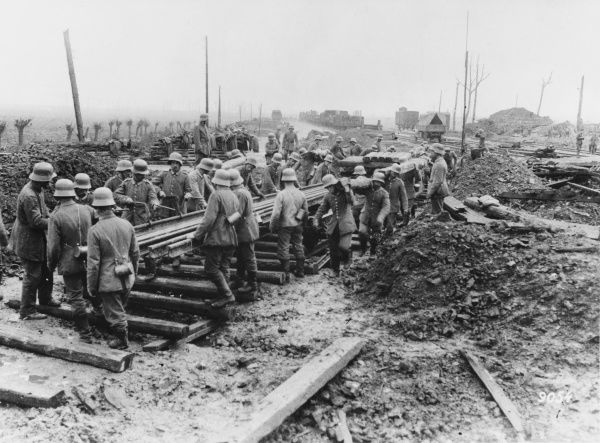 German soldiers laying railway tracks in they Ypres Salient during World War I