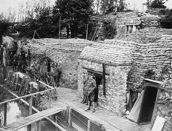 Dugouts on the banks of the Yser Canal, Ypres, Belgium on 27th August 1917 during World War I