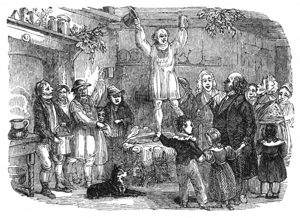 Standing on the Yule Log in a country kitchen Date: circa 1840