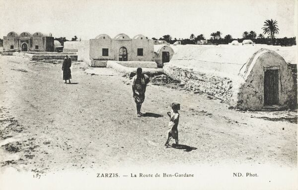 Zarzis, Tunisia - Ben Gardane Street - with interesting low-roofed thin-form mudbrick structures