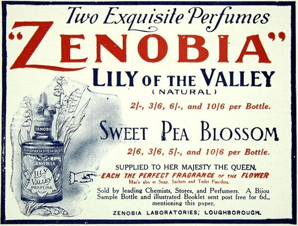 Zenobia laboratories advertisement for their Lily of the Valley and Sweet Pea Blossom perfumes from 1909