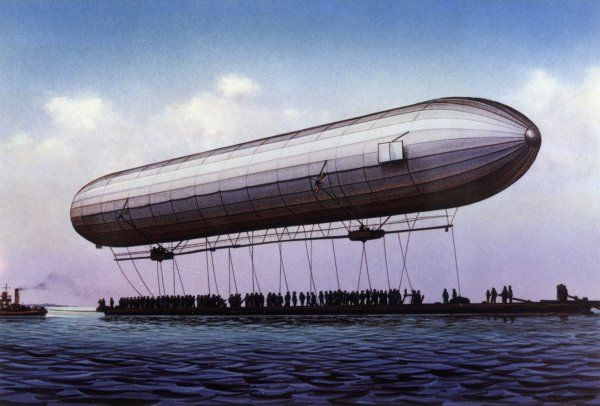 The first ZEPPELIN - LZ.1 - makes its maiden flight over the Bodensee (lake Constance)