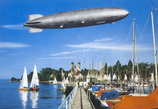 Zeppelin LZ-129 'Hindenburg'. one of the most successful of the passenger-carrying Zeppelins until its spectacular accident, seen over the Bodensee Date: 1936