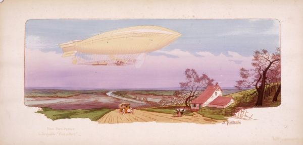 A Zeppelin aircraft hovers over the countryside -- a car can be seen on the road below, just passing a cottage