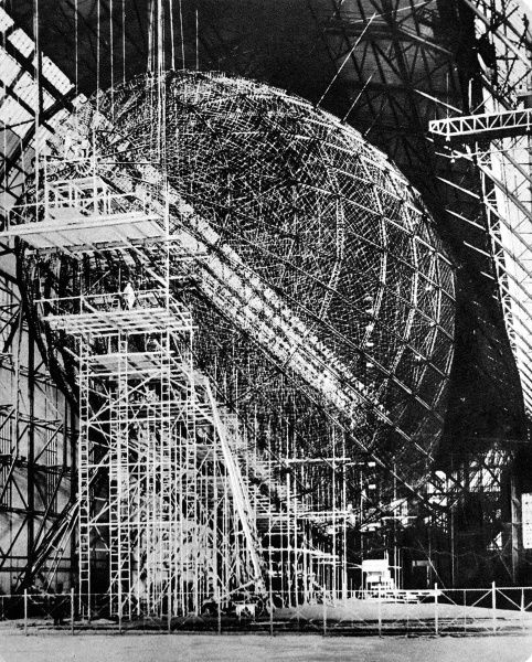 Photograph of the Zeppelin airship 'LZ 129' under construction at Friedrichshafen, March 1934. Known as the 'Hindenberg' when completed, the airship was 600 foot long with 26 passenger cabins and capable of transatlantic passages