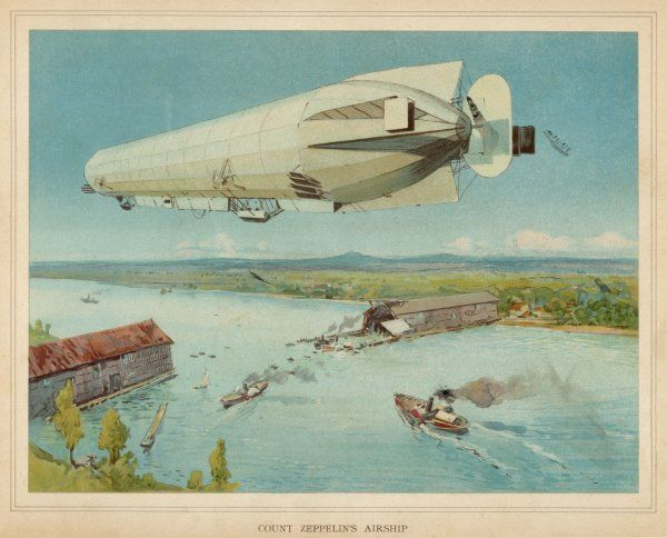 ZEPPELIN LZ-4 She makes her trial flights over the Bodensee (lake Constance)