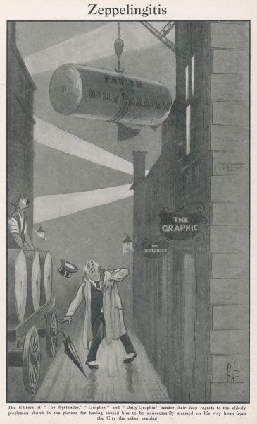 A gentleman is shocked and alarmed at the sight of a large roll or ream of paper being delivered to the offices of The Graphic and The Bystander during WWI. In the dim light, it bears a startling resemblance to a Zeppelin